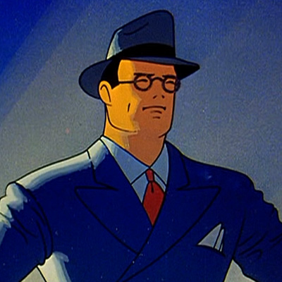 A picture of Clark Kent, as depicted by the original Fleischer animated films