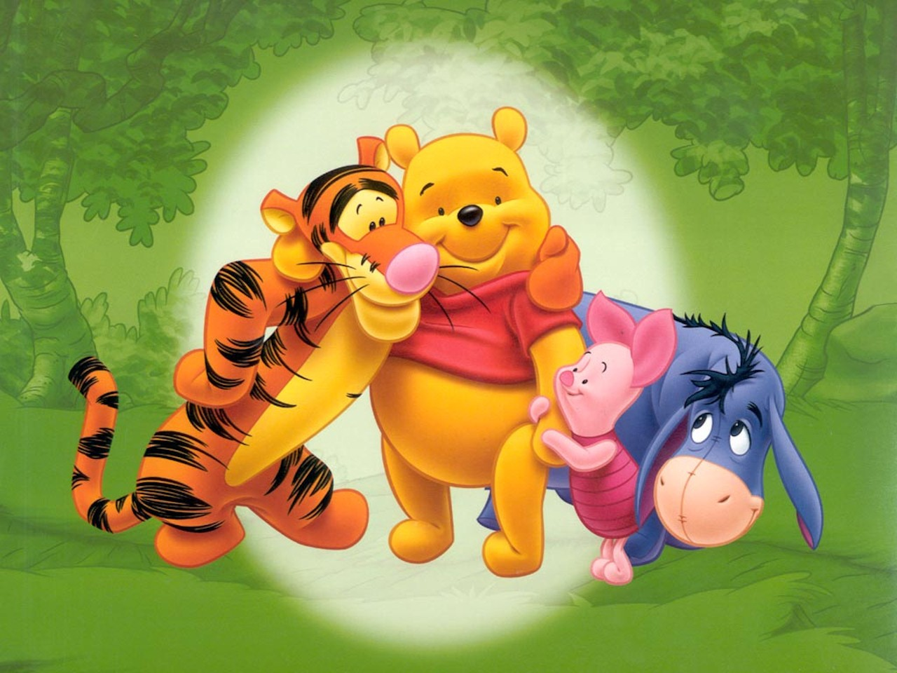 Winnie The Pooh Forest Background: Pooh, Tigger And Eeyore In Forest