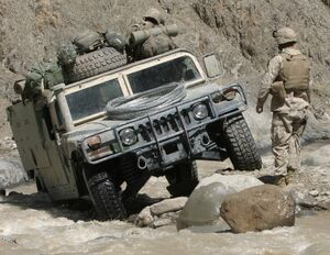 Humvee in difficult terrain