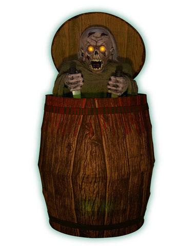Animated Zombie Barrel Prop  Halloween Decorations Wiki - Interactive Halloween Decorations