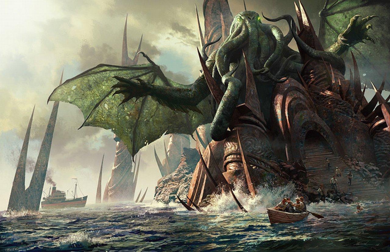 Los Dioses de Lovecraft  y sus criaturas Cthulhu-rlyeh-rising